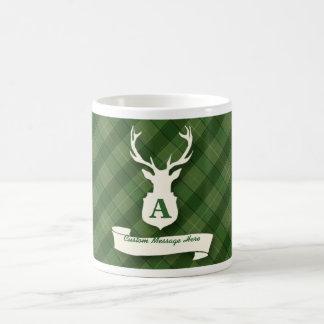 Green Plaid Mug with Stags Head and Custom Message