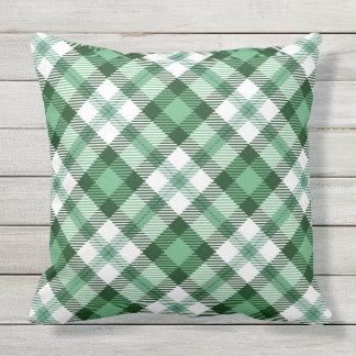 Green Plaid Print Cushion