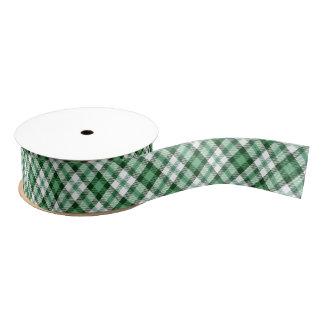 Green Plaid Print Ribbon Grosgrain Ribbon