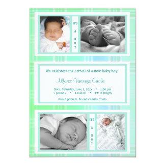 Green Plaid Quad Photo Birth Announcement