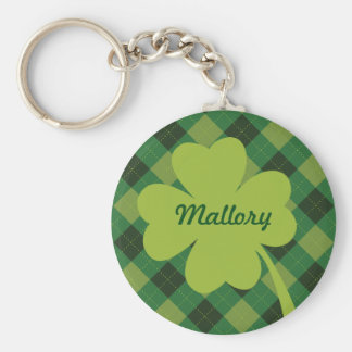 Green Plaid St. Patty's Day Personalized Keychain