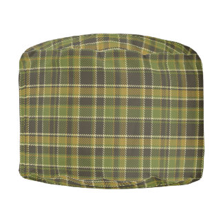 Green Plaid Sturdy Spun Polyester Round Pouf
