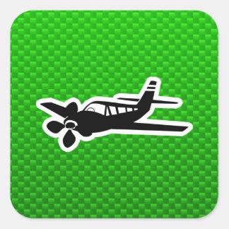Green Plane Square Sticker