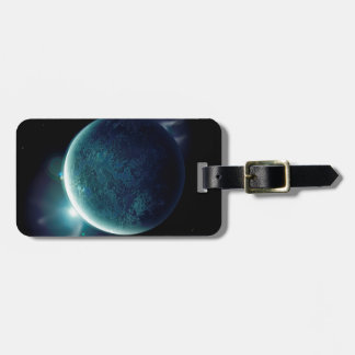 green planet in the universe with aura and stars bag tag