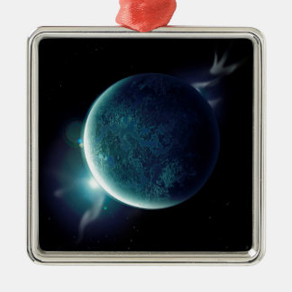 green planet in the universe with aura and stars metal ornament
