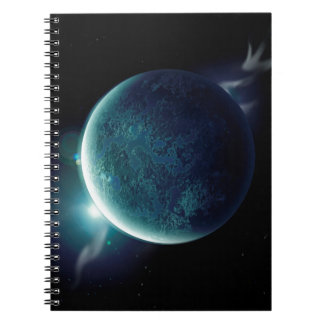 green planet in the universe with aura and stars notebook