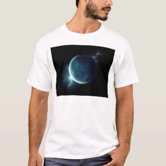 green planet in the universe with aura and stars T-Shirt