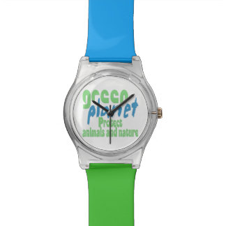 green planet - protect animals and nature - w2 wristwatch