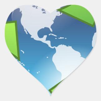 Green Planet Heart Sticker