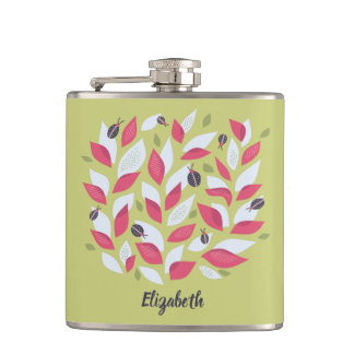 Green Plant Pink Leaves And Ladybugs Spring Name Hip Flask
