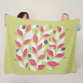 Green Plant With Pink Leaves And Ladybugs Spring Fleece Blanket