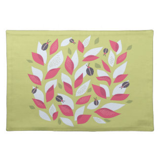 Green Plant With Pink Leaves And Ladybugs Spring Placemat