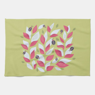 Green Plant With Pink Leaves And Ladybugs Spring Tea Towel