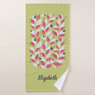 Green Plant With Pink Leaves Ladybugs Spring Name Bath Towel