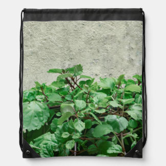 Green Plants Against Concrete Wall Drawstring Bag