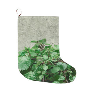 Green Plants Against Concrete Wall Large Christmas Stocking