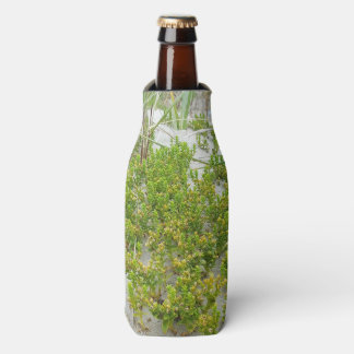 Green plants at the beach bottle cooler