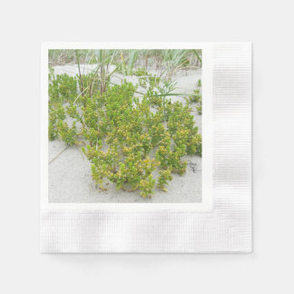Green plants at the beach disposable napkin