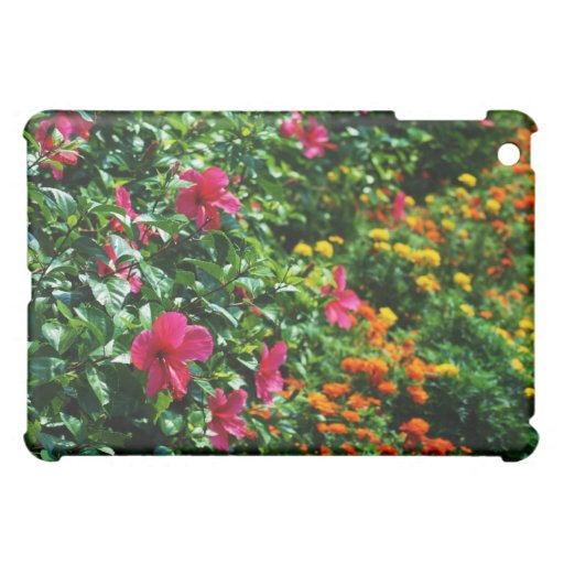 green plants with pink flowers case for the iPad mini