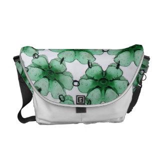 Green plastic flowers messenger bag
