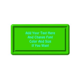 Green Plastic Label template