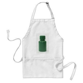 green plastic pills bottle apron