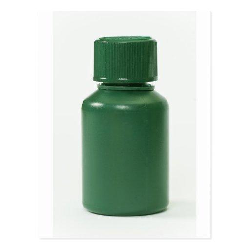 green plastic pills bottle post cards