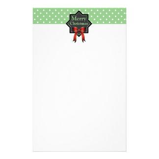 Green Polka Dot Christmas Custom Stationery