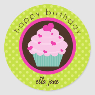 Green Polka Dot Cupcake Happy Birthday Sticker