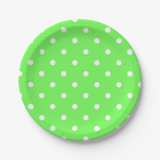 Green polka dot glamour fashion modern 7 inch paper plate