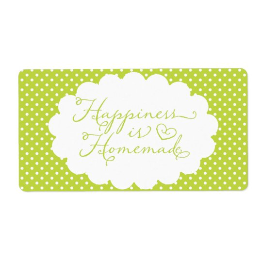 Green Polka Dot Happiness is Homemade Shipping Label