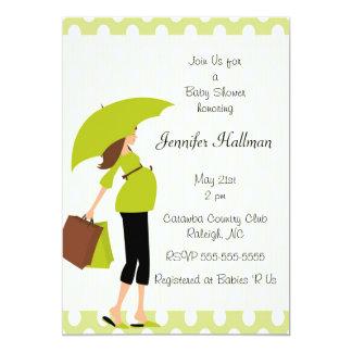 Green Polka Dot &  Mod Pregnant Mom - Boy or Girl Card
