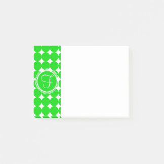 Green Polka Dot Monogram Post-it Notes