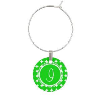 Green Polka Dot Monogram Wine Charm