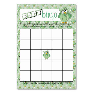 Green Polka Dot Owl Baby Shower Theme Bingo Card