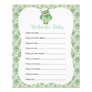 Green Polka Dot Owl Baby Shower Theme - Wishes Flyer