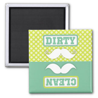 Green Polka Dot Pattern Mustache Clean Dirty Magnet