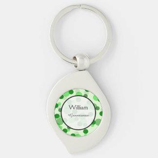 Green Polka Dot Pattern Wedding Keepsake Key Ring
