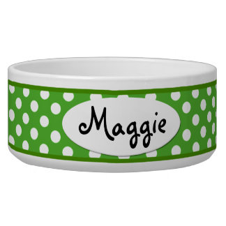 Green Polka Dot Personalized Ceramic Dog Bowl