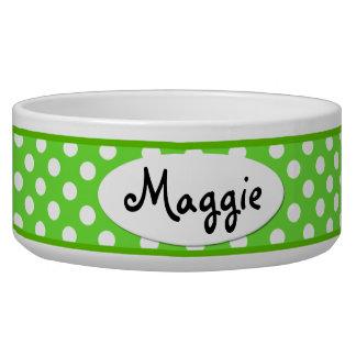 Green Polka Dot Personalized Ceramic Dog Bowl