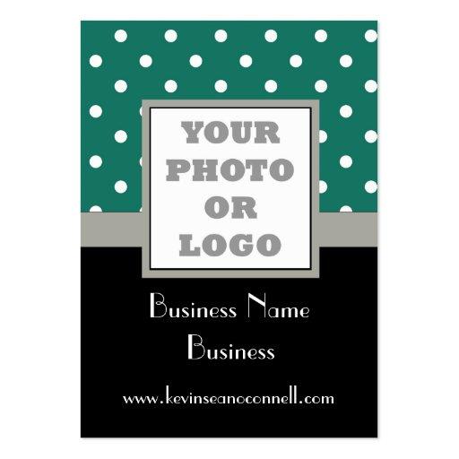 Green polka dot  photo logo business cards