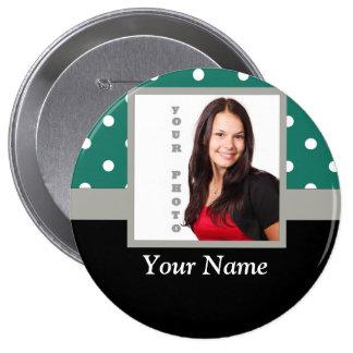 Green polka dot photo template 10 cm round badge