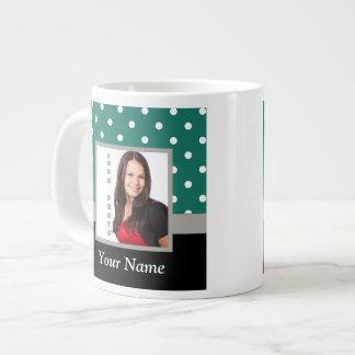 Green polka dot photo template jumbo mug