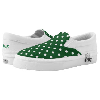 Green Polka Dot Slip-On Shoes