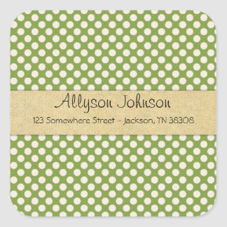Green Polka Dots Background Address Stickers