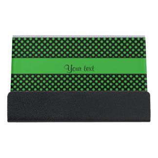 Green Polka Dots Desk Business Card Holder