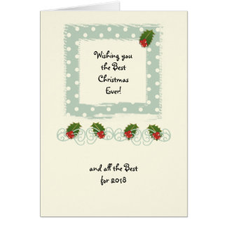Green polka dots holly Christmas small Card