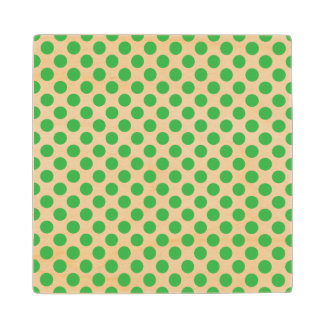 Green Polka Dots Maple Wood Coaster