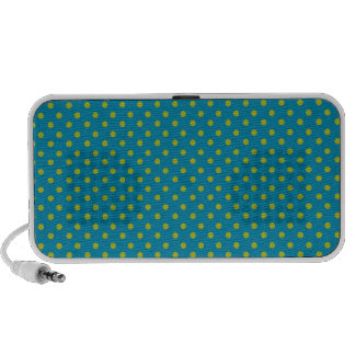 Green Polka Dots on Teal Pattern Portable Speakers