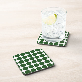 Green Polka Dots on White Drink Coasters